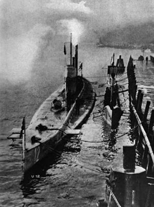 SM U-12 (Germany) - Submarine U-12 on left