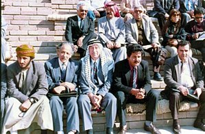 Suleiman Mousa - With a group of intellectuals at the Al-Marbed Poetry Festival in Basra, Iraq in 1988.