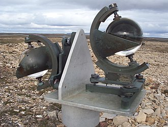 Campbell–Stokes recorder - A Campbell–Stokes recorder adapted for use in polar regions (The right sphere is facing south)