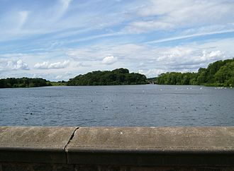 Swithland Reservoir - View from the causeway at the southern end, with Brazil Island in the centre and the railway viaduct to the right.