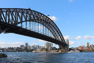 The Sydney Harbour Bridge with Milsons Point in the background.