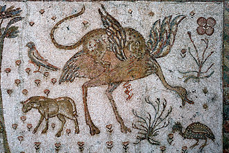 Arabian ostrich - Leopard attacking an ostrich on a mosaic from Roman Syria