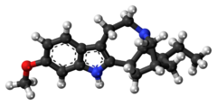 Ball-and-stick model of the tabernanthine molecule