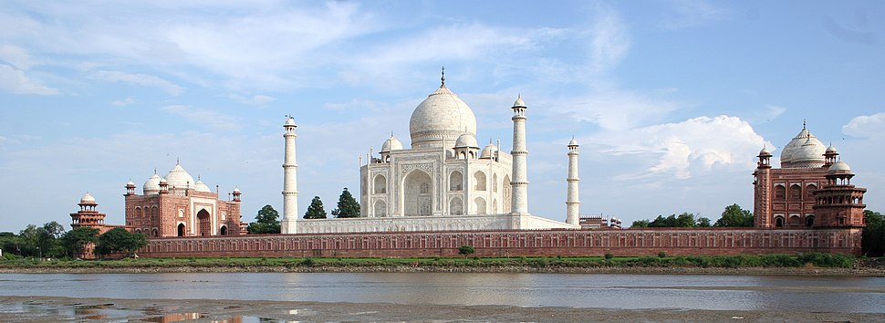 Taj Mahal and outlying buildings as seen from across the Yamuna River (northern view)