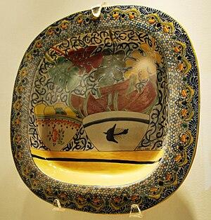 Talavera pottery - Talavera serving dish by Marcela Lobo on display at the Museo de Arte Popular, Mexico City.