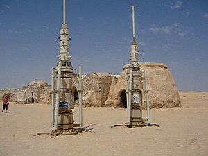 Tatooine - Moisture vaporator film sets left over at Tozeur