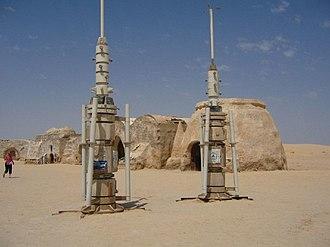 Tatooine - Moisture vaporator film sets left over at Tozeur