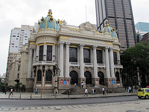 Theatro Municipal (Rio de Janeiro) - Municipal Theatre of Rio de Janeiro: frontal view.