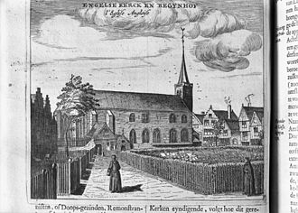 John Paget (Puritan minister) - 17th century print of the exterior of the English Reformed Church, from Beschrijvinge van Amsterdam by Tobias van Domselaer (1611-85)