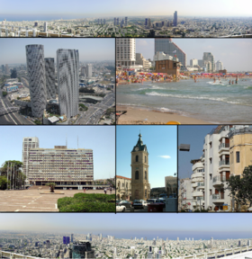 From upper left: Panorama of North-Eastern Tel Aviv from Azrieli Center, the Azrieli Center, Gordon Beach, Tel Aviv City Hall, Jaffa Clock Tower, شهر سفید and Panorama of South-Western Tel Aviv from Azrieli Center