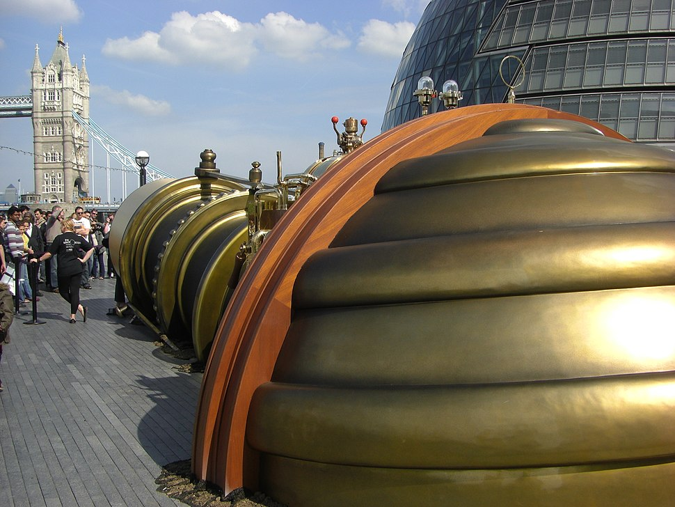 Telectroscope aperture at London City Hall showing Tower Bridge and Canary Wharf