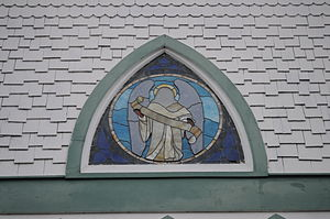 English: Stained glass, Crossroads Community C...