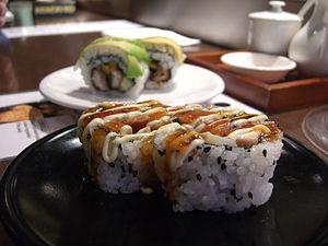 Teriyaki Chicken Sushi Roll and Avocado and Pr...