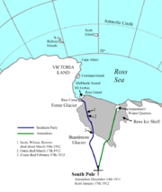 Map showing the field of work of the Terra Nova Expedition, 1910–13, indicating place and date of Scott's death