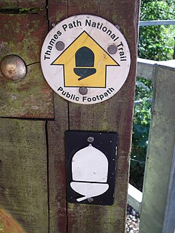 Thames Path National Trail sign and National Trail symbol