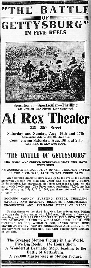 The Battle of Gettysburg (1913 film) - Contemporary newspaper advertisement.