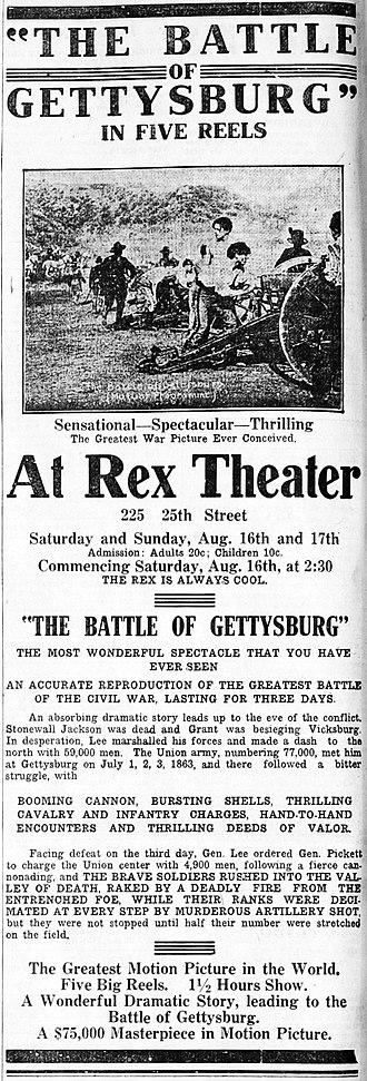The Battle of Gettysburg (1913 film) - Contemporary newspaper advertisement.