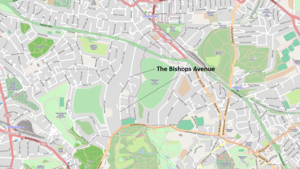 The Bishops Avenue - Map of The Bishops Avenue.