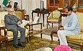 The Chief Minister of Madhya Pradesh Shri Shivraj Singh Chouhan meeting the President, Shri Pranab Mukherjee, at Rashtrapati Bhavan, in New Delhi on August 21, 2015.jpg