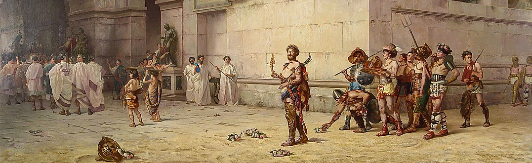 The Emperor Commodus Leaving the Arena at the Head of the Gladiators by American muralist Edwin Howland Blashfield (1848-1936) 01 (cropped).jpg