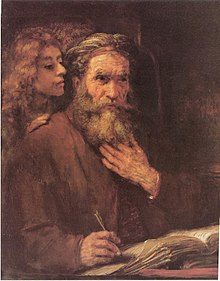 "Paiting ""The Evangelist Matthew Inspired by an Angel"" by Rembrandt: A bearded man sits writing while a woman standing behind him speaks in his ear."