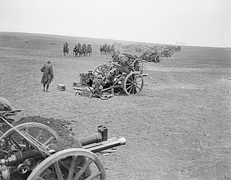 City of London Artillery - 18-pounder battery in action in the open, 28 March 1918.
