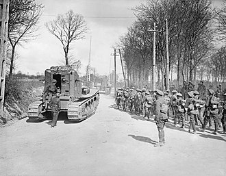 Medium Mark A Whippet - Whippets of 3rd Battalion at Maillet-Mailly, 26/Mar/18. Some, in action earlier in the day were the first Whippets to be used. (Infantry are of the New Zealand Division)