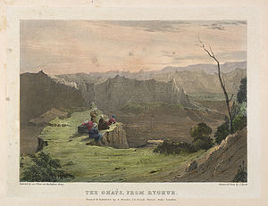 67th (South Hampshire) Regiment of Foot - The Ghats from Ryghur: The Western Ghats, a range of hills that separate the western coast from the central plains of India, were well suited to defensive structures such as forts: the regiment took part in the closing stages of the Siege of Ryghur in 1818