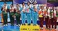 The Gold Medallist of India Sweta Singh, Heena Sidhu and Yashaswini Singh Deswal, Silver Medallist of Bangladesh Ardiina Ferdous, Armin Asha and Turing Dewan and Bronze Medallist of Sri Lanka R. Abeymanna.jpg