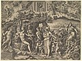 The Judgment of Paris; Paris seated on a rock choosing between the goddesses Venus, Juno, and Minerva, the god Mercury with a caduceus in between them MET DP821546.jpg