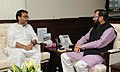 The Minister of State for Rural Development, Panchayati Raj, Drinking Water and Sanitation, Shri Upendra Kushwaha calls on the Minister of State for Information and Broadcasting (Independent Charge), Environment.jpg