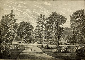 "Woodward's Gardens - ""Scene in park and pleasure grounds at Oak Knoll, Napa Valley, California. - Residence of R. B. Woodward."" from 1877 travel guide"