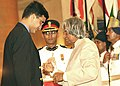 The President Dr. A.P.J Abdul Kalam presenting Padma Shri Award to Shri Saurav Ganguly the most successful Captain of Indian Cricket Team at an investiture Ceremony at Rashtrapati Bhawan in New Delhi on June 30, 2004.jpg