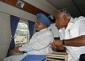 The Prime Minister, Dr. Manmohan Singh making an aerial survey of flood-affected areas of Raichur, Karnataka on October 10, 2009.jpg