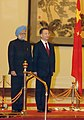 The Prime Minister, Dr. Manmohan Singh with the Chinese Premier, Mr. Wen Jiabao at the rostrum, during the Welcome Ceremony in Great Hall of People, Beijing in China on January 14, 2008.jpg