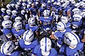 The U.S. Air Force Academy football team prepares to take the field prior to the start of their opening football game against the Idaho State Bengals at Falcon Stadium in Colorado Springs, Colo., Sept 120901-F-ZJ145-390.jpg