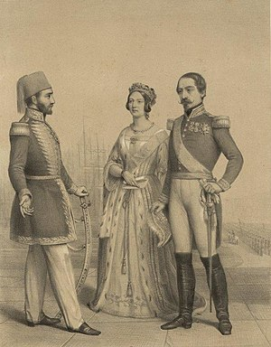 Abdulmejid I - Sultan Abdulmejid (left) with Queen Victoria of the United Kingdom and Emperor Napoleon III of France