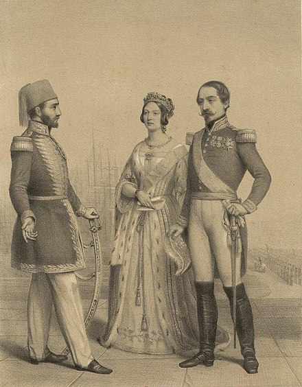 Sultan Abdulmejid (left) with Queen Victoria of the United Kingdom and Emperor Napoleon III of France The allies.jpg