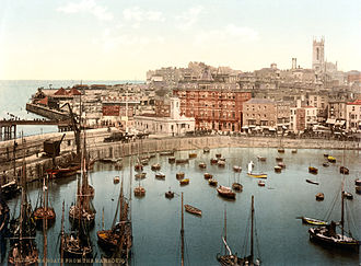 Margate - A photochrom print of Margate Harbour in 1897