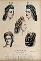 The heads of five women with their hair combed back and dres Wellcome V0019876ER.jpg
