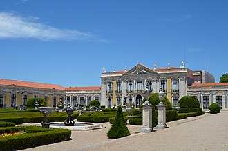 "Palace of Queluz - The Palace of Queluz. The ""Ceremonial Façade"" of the corps de logis designed by Oliveira."