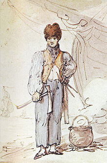 Drawing of man carrying axe, with the prow of a ship visible in background