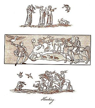 "Falconry - Three panels depicting hawking in England from various time periods, as reprinted in Joseph Strutt's 1801 book, The sports and pastimes of the people of England from the earliest period. The middle panel is from a Saxon manuscript dated to the late 10th century – early 11th century, as of 1801 held in the ""Cotton Library"", showing a Saxon nobleman and his falconer. The top and bottom panels are drawings from a manuscript held, as of 1801, in the ""Royal Library"" dating from the early 14th century showing parties of both sexes hawking by the waterside; the falconer is frightening the fowl to make them rise and the hawk is in the act of seizing upon one of them."