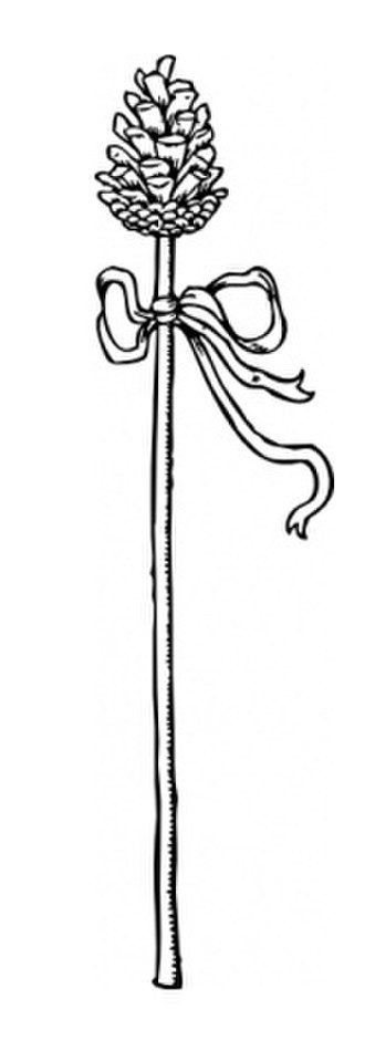 Thyrsus - Thyrsus staff tied with taenia and topped with a pine cone.
