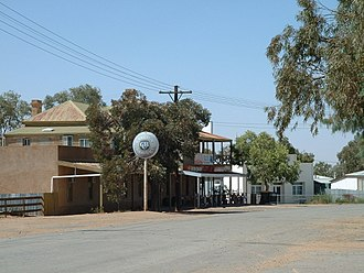 Tibooburra, New South Wales - Main street of Tibooburra looking towards the two storey hotel