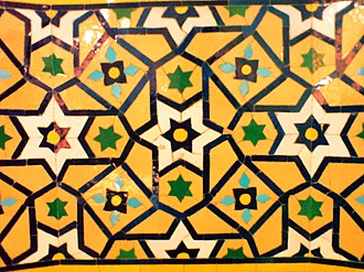 Nishapur - Geometrically patterned tilework in Muhammad al-Mahruq Mosque, Nishapur