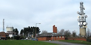 Tinshill - The high point on Otley Old Road, showing (left) Tinshill Water Tower, (middle) Cookridge Fire Station, (right) Tinshill BT Tower