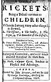 """Title-page, F. Glisson's """"A treatise of the rickets', 1668 Wellcome L0013832.jpg"""