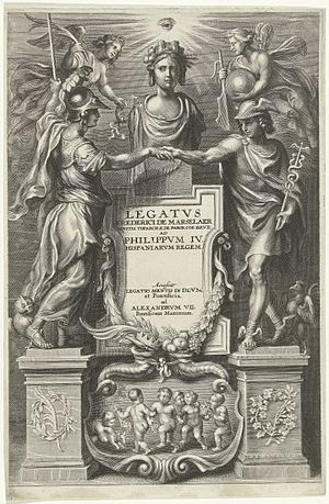 Frederick de Marselaer - Title page of Frederick de Marselaer's Legatus (1666), engraved by Cornelius Galle the Younger to a design by Peter Paul Rubens