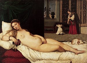 Venetian school (art) - Titian's reclining Venus (1538) an erotic work, with a lapdog on the right, balancing the face on the left.